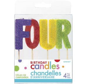 Glitter Multicolor Four Birthday Toothpick Candle Set 4pc