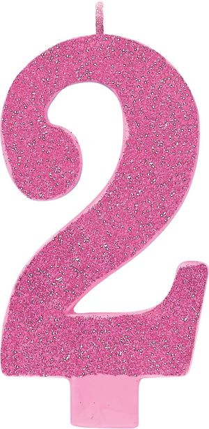 Giant Glitter Pink Number 2 Birthday Candle
