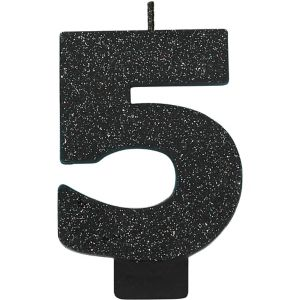 Glitter Black Number 5 Birthday Candle