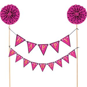 Pink Happy Birthday Pennant Banner Cake Topper