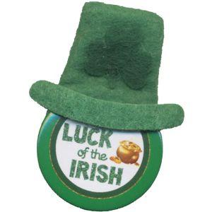 Luck of the Irish Leprechaun Hat Button