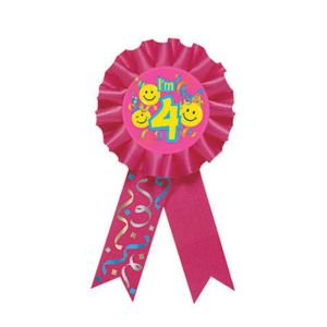 Smile 4th Birthday Award Ribbon