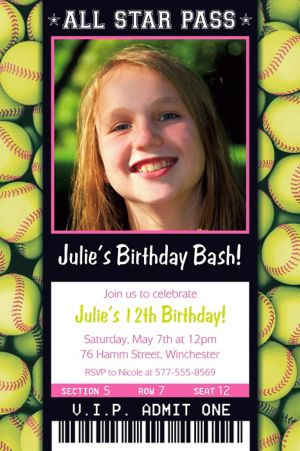 Custom Softball Ticket Photo Invitation