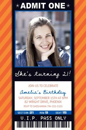 Custom Orange Generic Ticket Photo Invitation