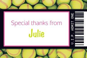 Custom Softball Ticket Thank You Note