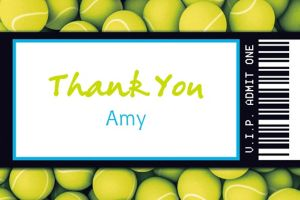 Custom Tennis Ticket Thank You Note