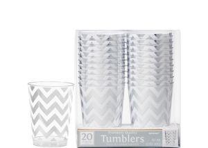 Silver Chevron Premium Plastic Cups 20ct
