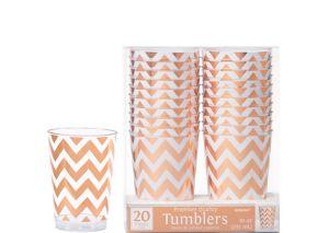 Rose Gold Chevron Premium Plastic Cups 20ct