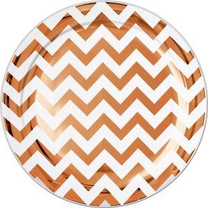 Rose Gold Chevron Premium Plastic Dinner Plates 10ct