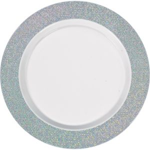 White Prismatic Silver Border Premium Plastic Dinner Plates 10ct