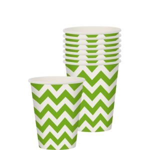 Kiwi Green Chevron Paper Cups 8ct
