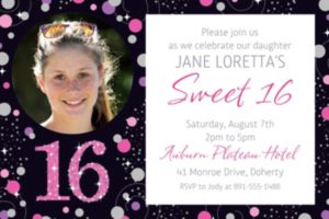 Custom Pink Sparkling Celebration 16 Photo Invitation