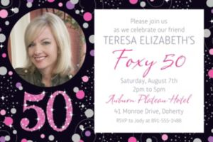 Custom Pink Sparkling Celebration 50 Photo Invitation