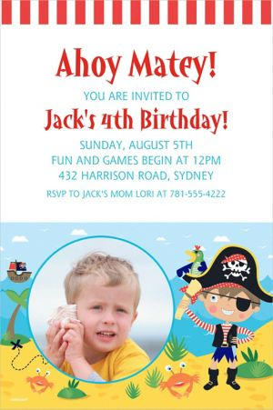 Custom Little Pirate Photo Invitation