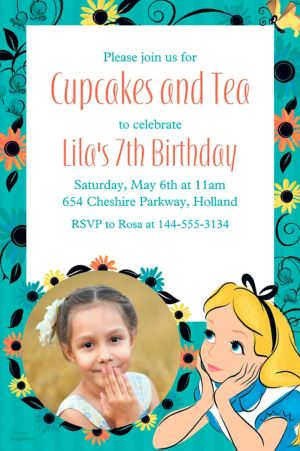 Custom Alice in Wonderland Photo Invitation