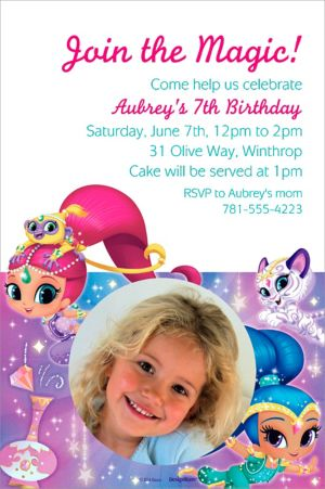 Custom Shimmer and Shine Photo Invitation