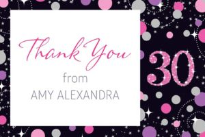 Custom Pink Sparkling Celebration 30 Thank You Note