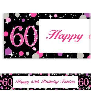Custom Pink Sparkling Celebration 60 Banner