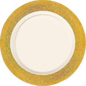 Cream Prismatic Gold Border Premium Plastic Dinner Plates 10ct