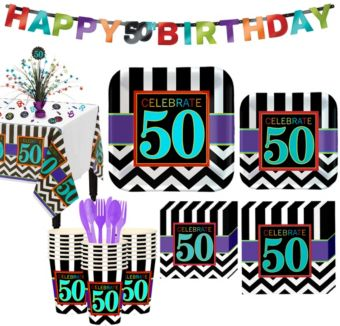 Celebrate 50th Birthday Party Kit for 32 Guests