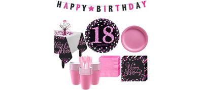 Pink Sparkling Celebration 18th Birthday Party Kit for 32 Guests