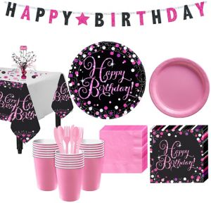 Pink Sparkling Celebration Birthday Party Kit for 32 Guests