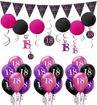 Pink Sparkling Celebration 18th Decorating Kit with Balloons