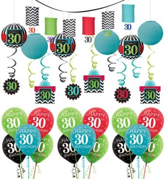 Celebrate 30th Birthday Decorating Kit with Balloons