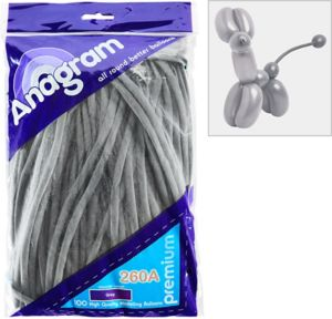 Long Gray Twisting Balloons 100ct
