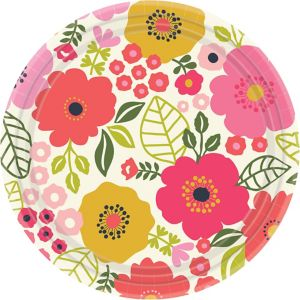 Coral Floral Dinner Plates 8ct