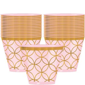 Metallic Geometric Pink Plastic Cups 20ct