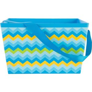 Blue Chevron Square Easter Basket