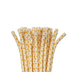 Sunshine Yellow Diamond Flexible Paper Straws 24ct