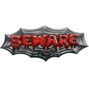Light-Up Beware Doorbell Sign with Sound Effects