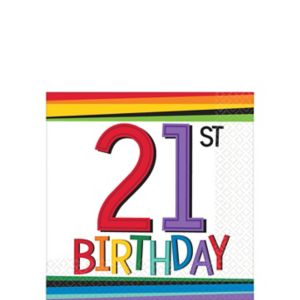 Rainbow 21st Birthday Beverage Napkins 16ct