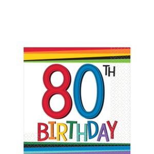 Rainbow 80th Birthday Beverage Napkins 16ct