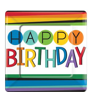 Rainbow Happy Birthday Dessert Plates 8ct