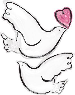 Giant White Doves Wedding Balloon