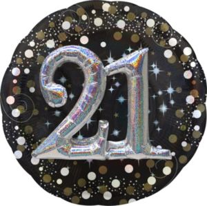 21st Birthday Balloon - 3D Sparkling Celebration