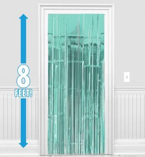 Robin's Egg Blue Fringe Doorway Curtain