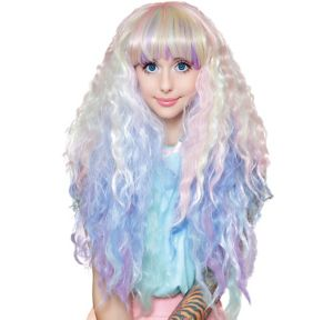 Crimped Pastel Rainbow Ombre Cosplay Wig