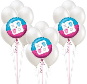 Little Man Little Miss Gender Reveal Party Balloon Kit 18ct