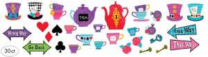 Mad Tea Party Cutouts 30ct