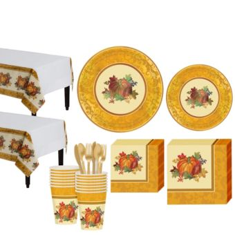 Bountiful Holiday Fall Tableware Kit for 16 Guests