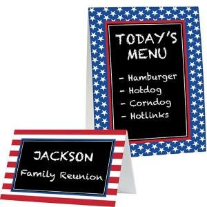 Patriotic Chalkboard Tent Cards 8ct