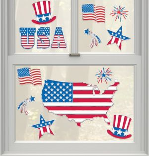 Patriotic American Flag Cling Decals 14ct
