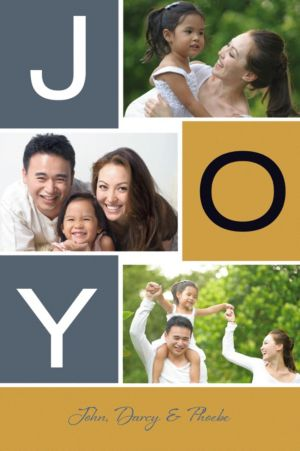 Custom Gold Bold Joy Collage Photo Card