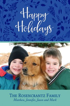 Custom Blue Flora Happy Holidays Photo Card