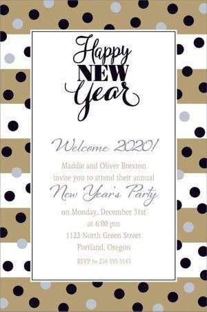 Custom Golden Pattern New Year Invitation