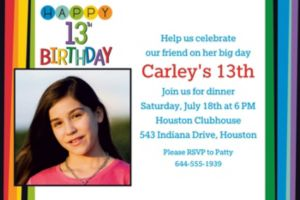 Custom Rainbow 13th Birthday Photo Invitation